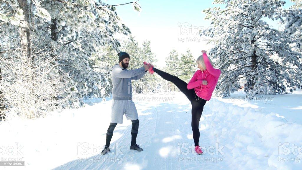 Training an einem Wintertag – Foto