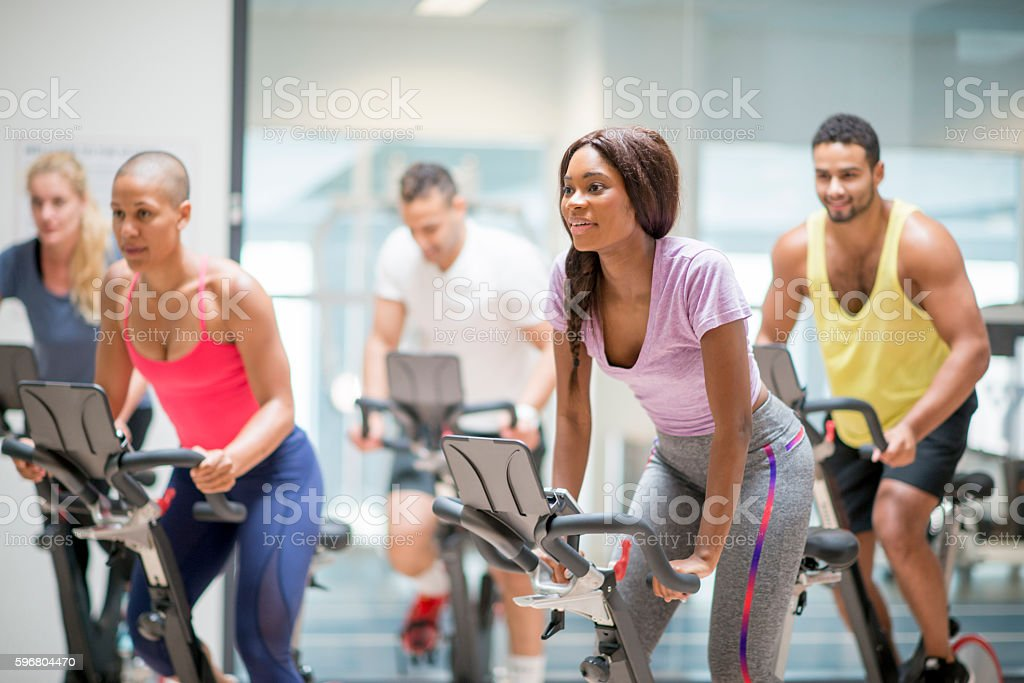Workout Out in a Spin Class stock photo