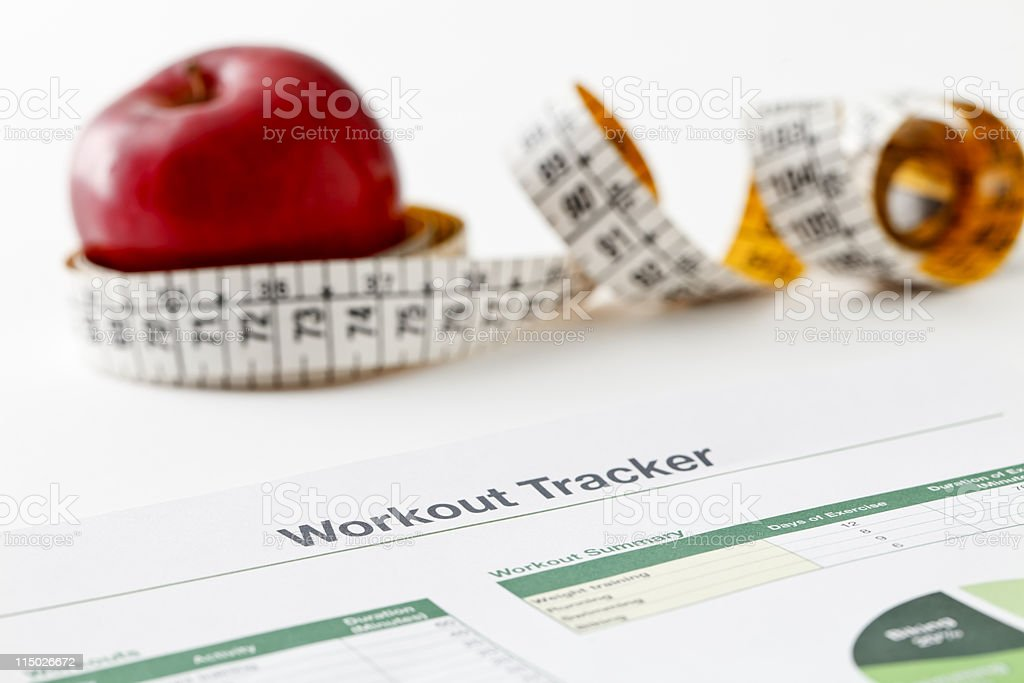 Workout tracker printout stock photo