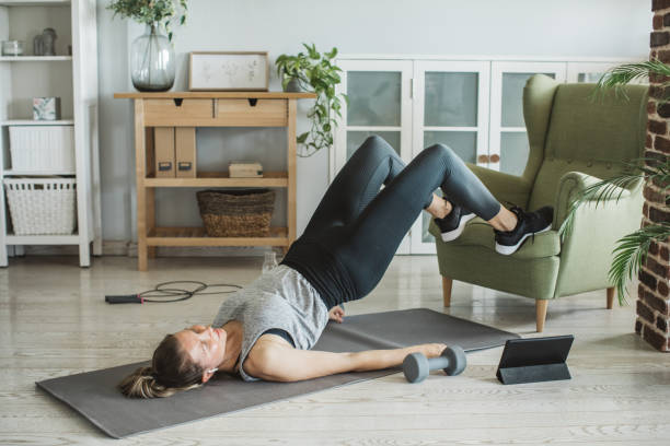 Workout while in isolation stock photo