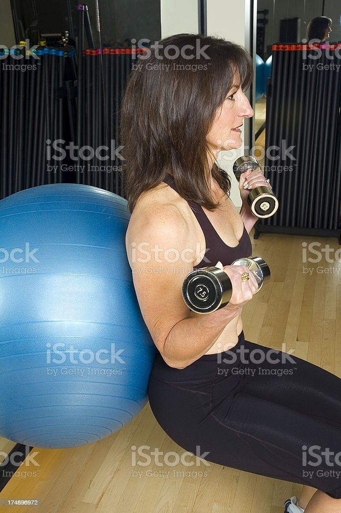 Workout with Exercise Ball royalty-free stock photo