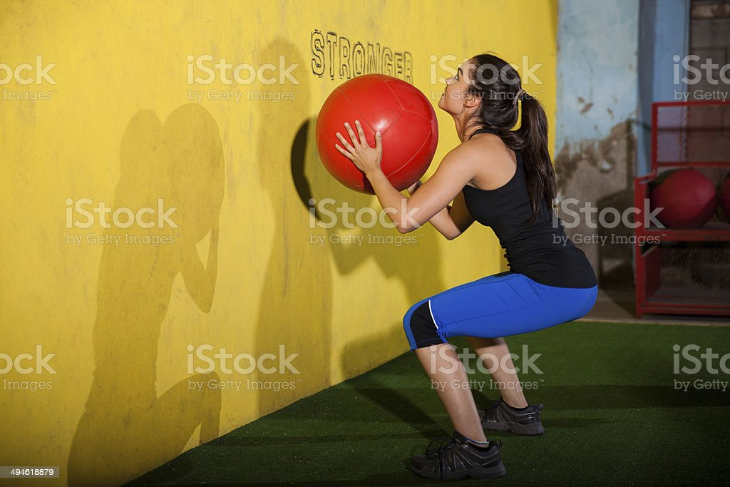 Workout with medicine ball stock photo