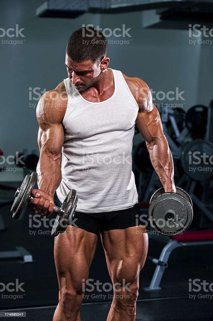 Workout with weights royalty-free stock photo
