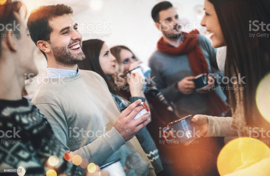 Workplace Christmas stock photo