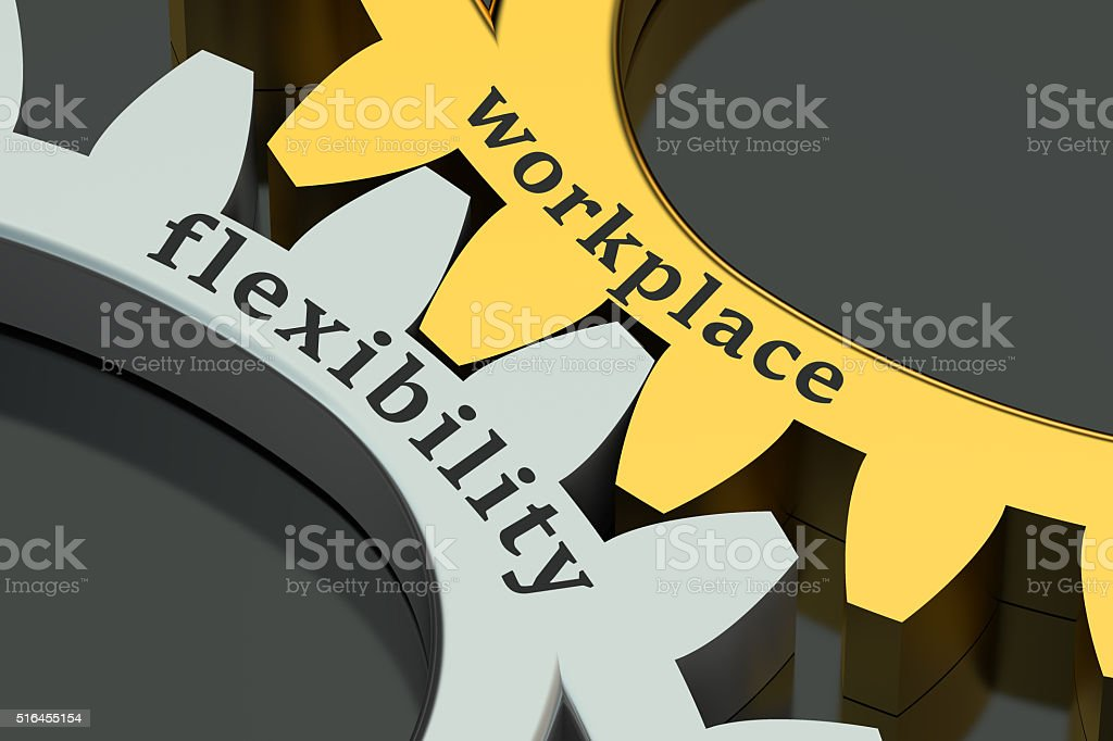 Workplace flexibility concept on the gearwheels stock photo