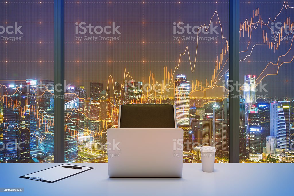workplace in a modern panoramic office with New York stock photo