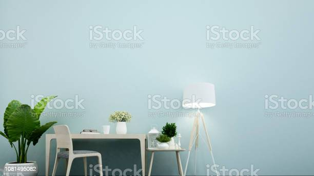 Workplace In Office Or Dining Room In Home And Light Blue Wall Decorate Interior Simple Design 3d Rendering Stock Photo Download Image Now Istock