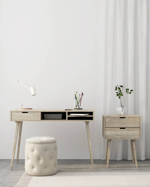 Workplace interior with wooden furniture stock photo