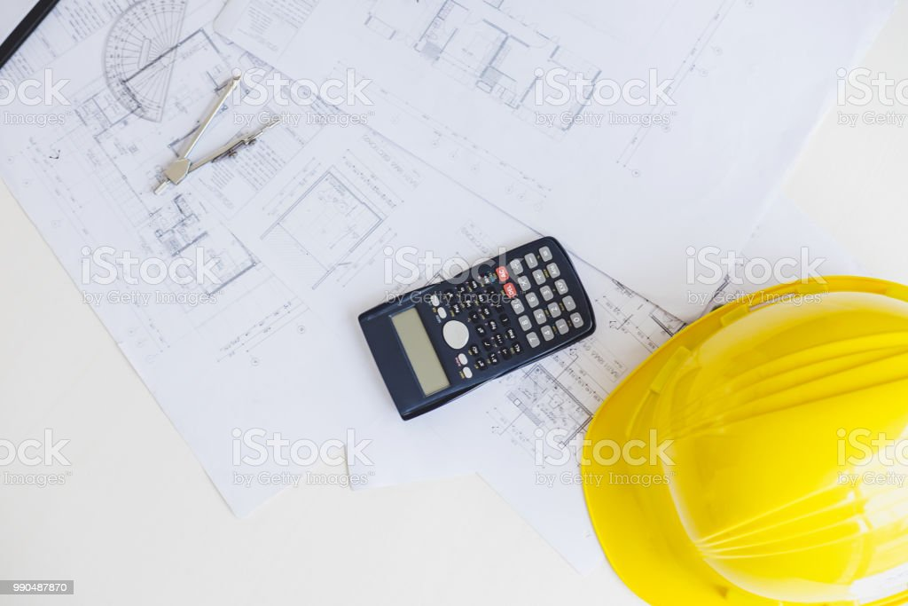 Workplace items of architect or engineering tools for project.