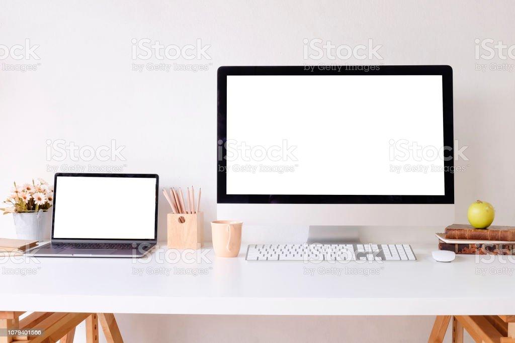 Workplace mockup concept. Mock up home decor desktop computer and...