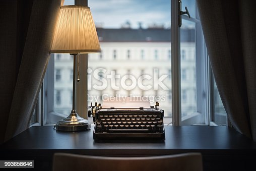 istock Workplace of a writer, journalist, creator. 993658646
