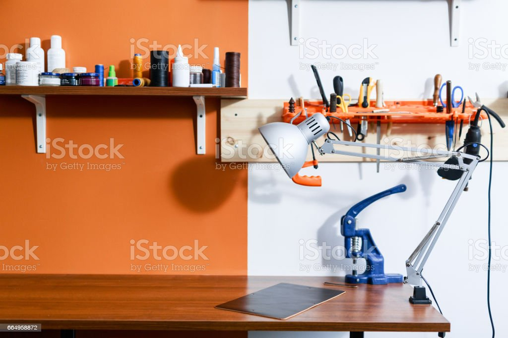 Workplace of craftsman stock photo