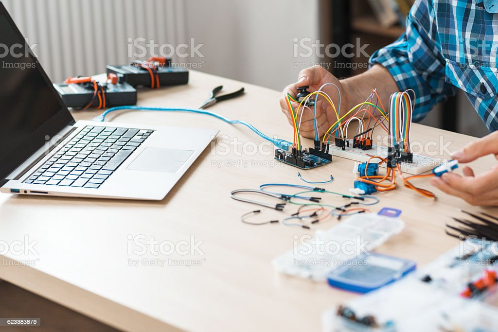 Workplace of engineer experiment with electronics stock photo