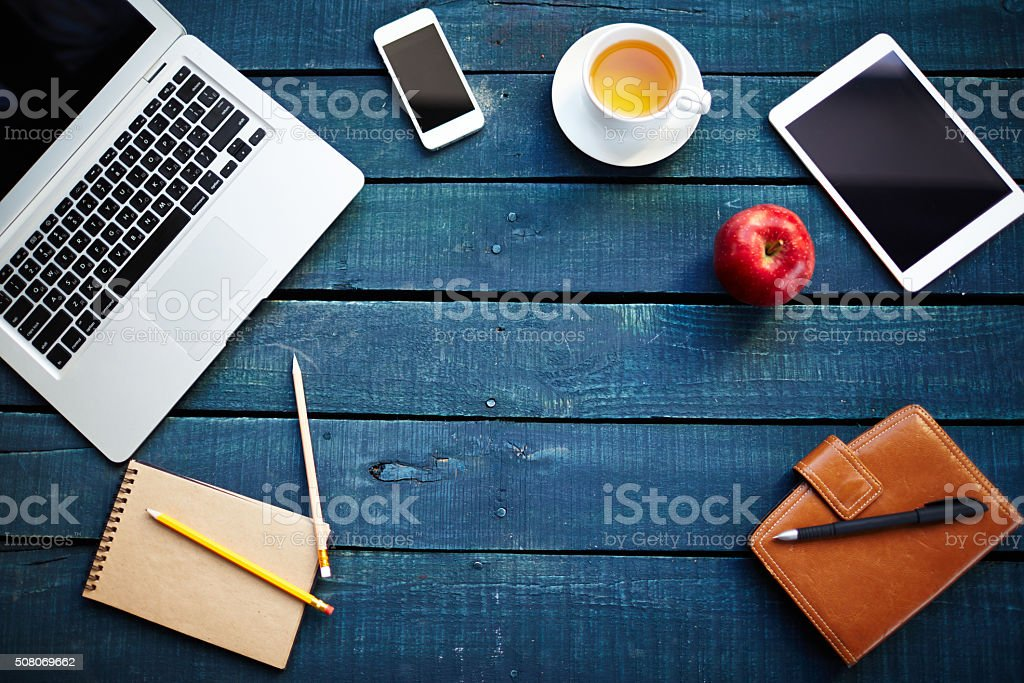 Workplace of office worker stock photo