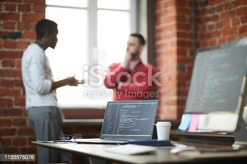 istock Workplace of software engineer 1133575076