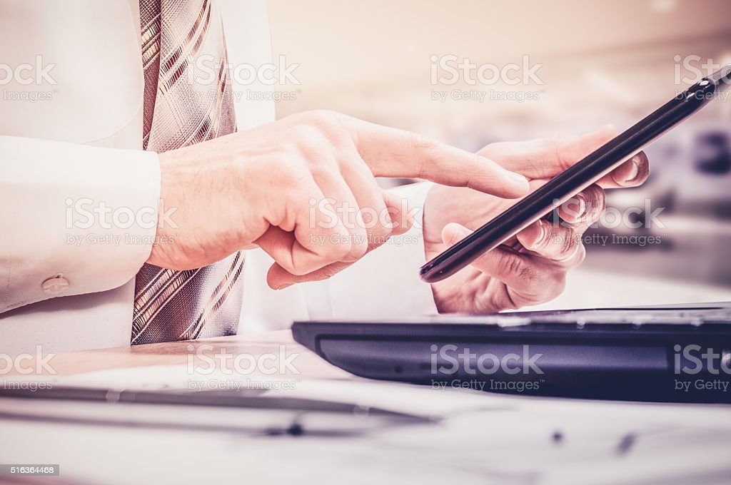 Workplace of the businessman. Data science. Omnichannel stock photo