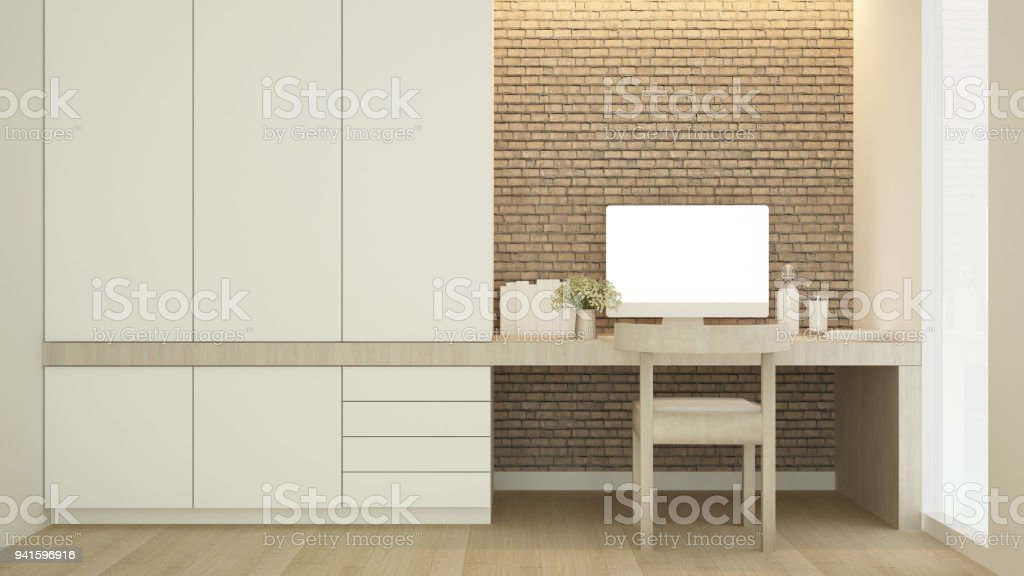 Workplace On Brick Wall Decorate And Wardrobe In Condominium Study ...