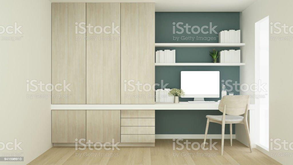 arbeitsplatz auf gr ne wandgestaltung und schrank im kondominium studie raum schlichtes design. Black Bedroom Furniture Sets. Home Design Ideas