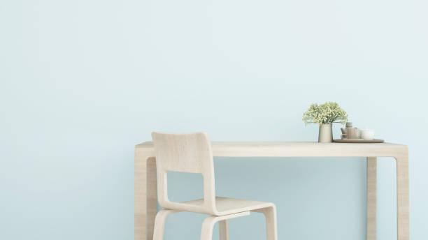 arbeitsplatz oder esszimmer in eigentumswohnung oder hotel - studie raum leichten blauton artwork für wohnung oder haus - 3d rendering - hellblaues zimmer stock-fotos und bilder