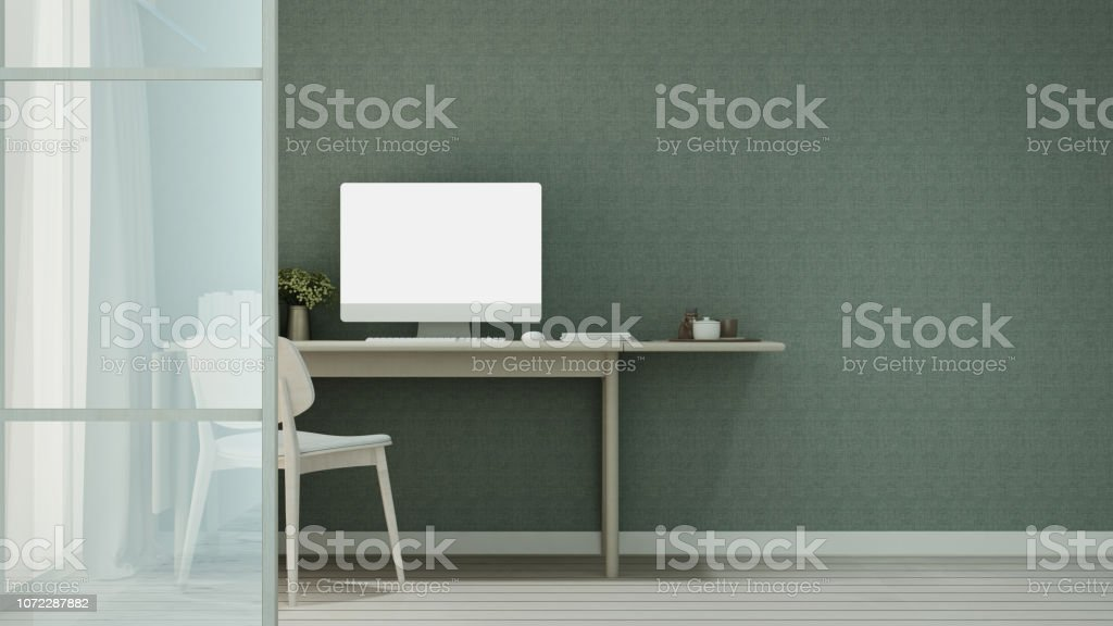 Workplace or dining room in home or apartment and green wallpaper decoration - Interior simple design - 3D Rendering - Stock image .