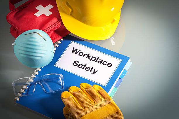 workplace safety handbook manual and occupational equipment for work training - arbetssäkerhet bildbanksfoton och bilder