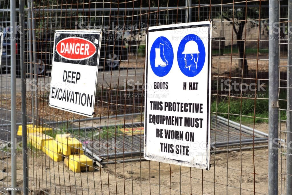 Workplace Safety Sign Boards At Construction Site Stock Photo Download Image Now Istock