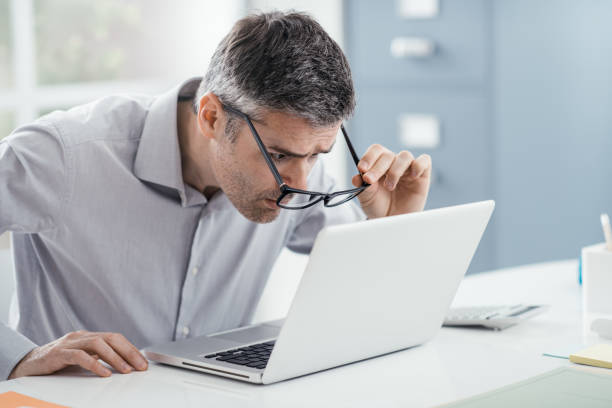 Workplace vision problems stock photo