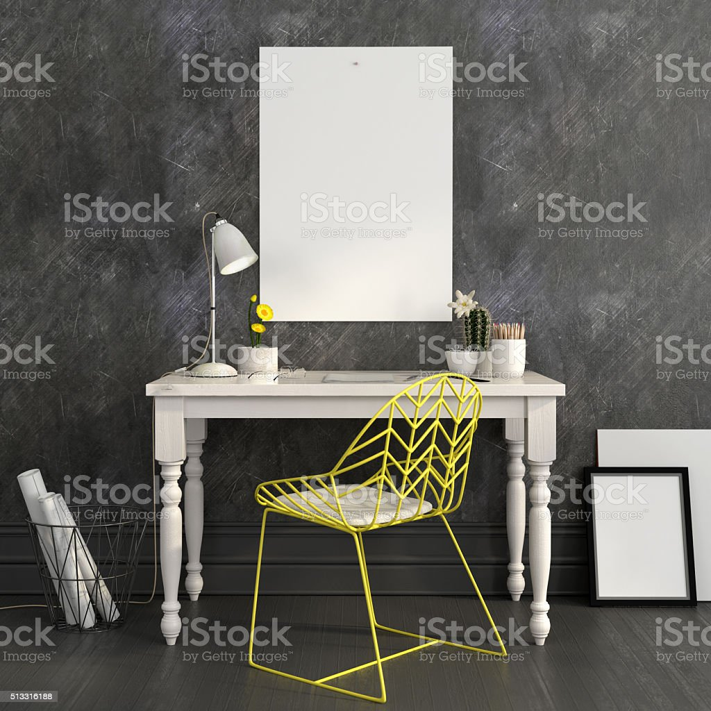 Workplace with a bright yellow chair and a Mock up stock photo