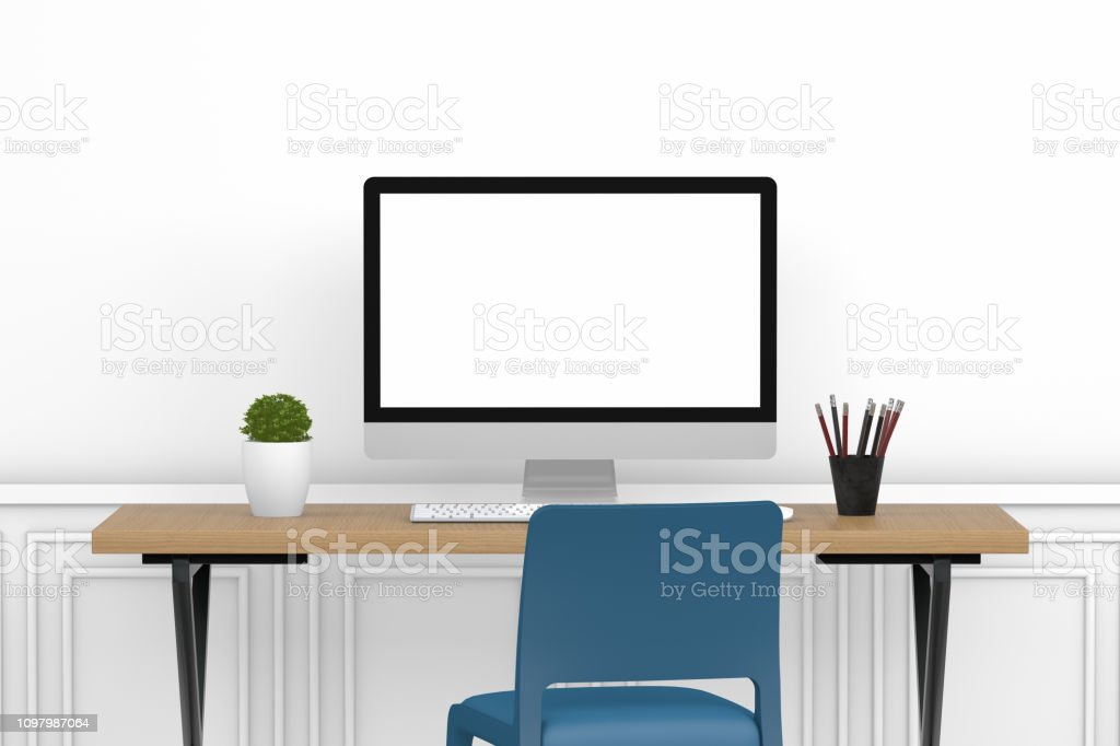 Workplace with Blank Screen Monitor in modern interior, Home office...
