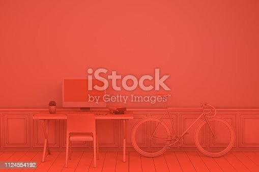 Workplace with Blank Screen Monitor in modern interior, Home office concept, 3d render. Red Background