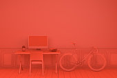 Workplace with Blank Screen Monitor in modern interior, red background