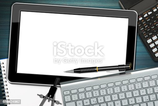 istock Workplace with Digital Tablet Computer 688424962