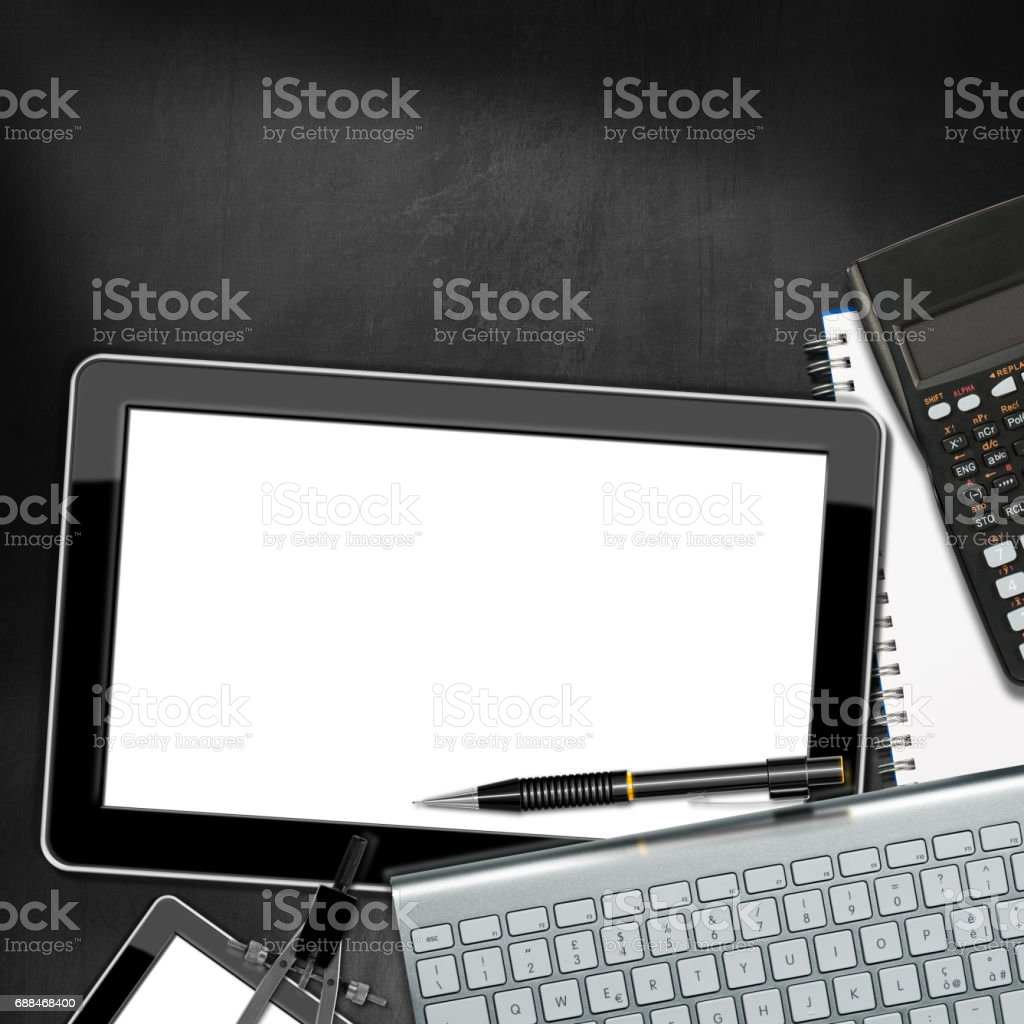 Workplace with Digital Tablet Computer stock photo