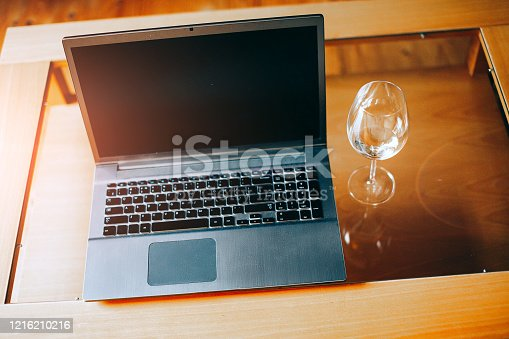 1128886313 istock photo Workplace with notebook laptop 1216210216