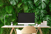 Workplace with Plants on Wall Background