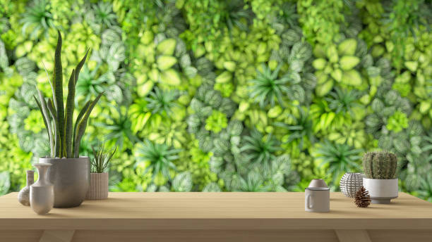 Workplace with Plants on Wall Background stock photo