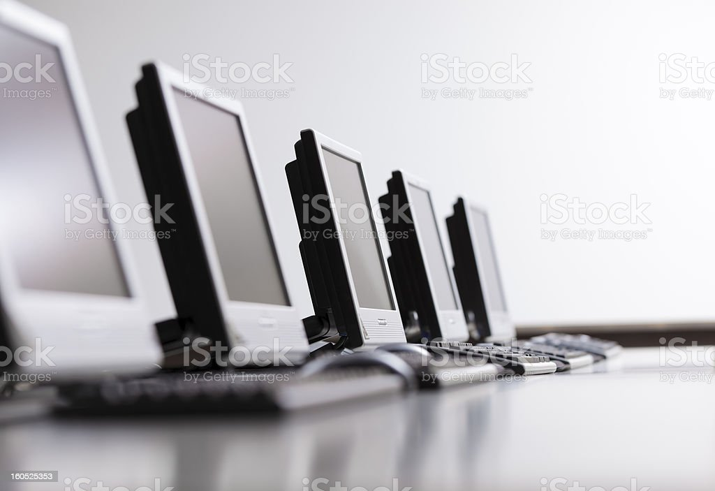 Workplaces in a row stock photo
