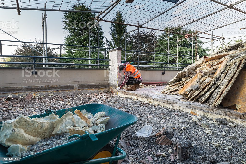 Works of insulation and waterproofing terrace - roof stock photo