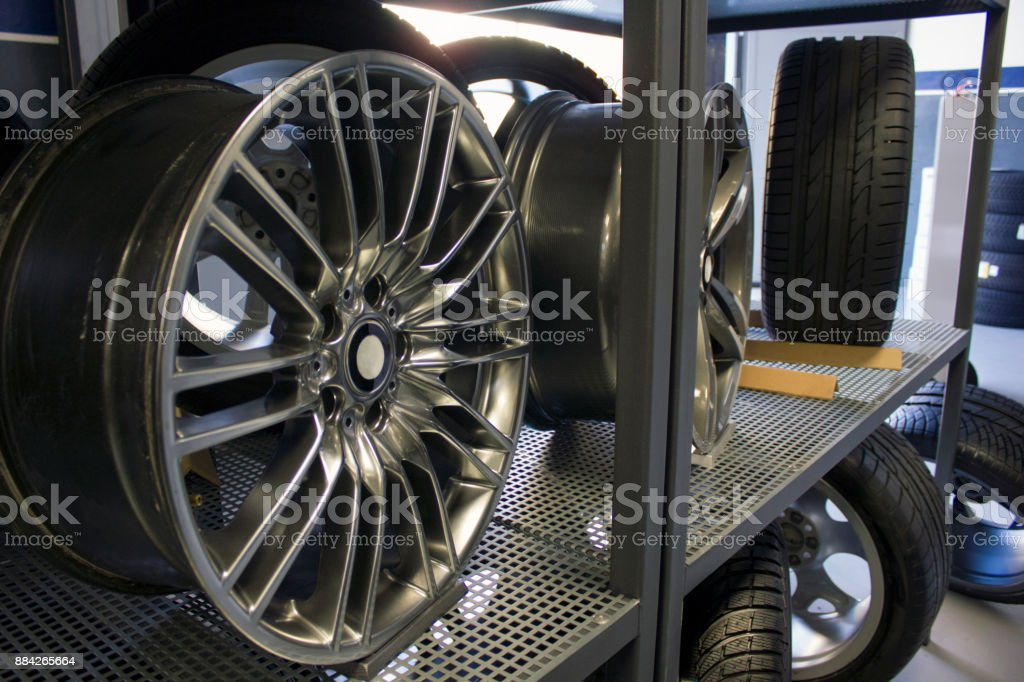 Workshop changing tyre stock photo