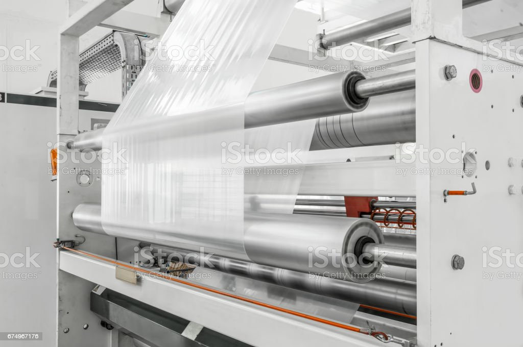 workshop for production of polyethylene stock photo