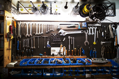 Workshop Professional Large Set Of Tools Stock Photo - Download Image Now