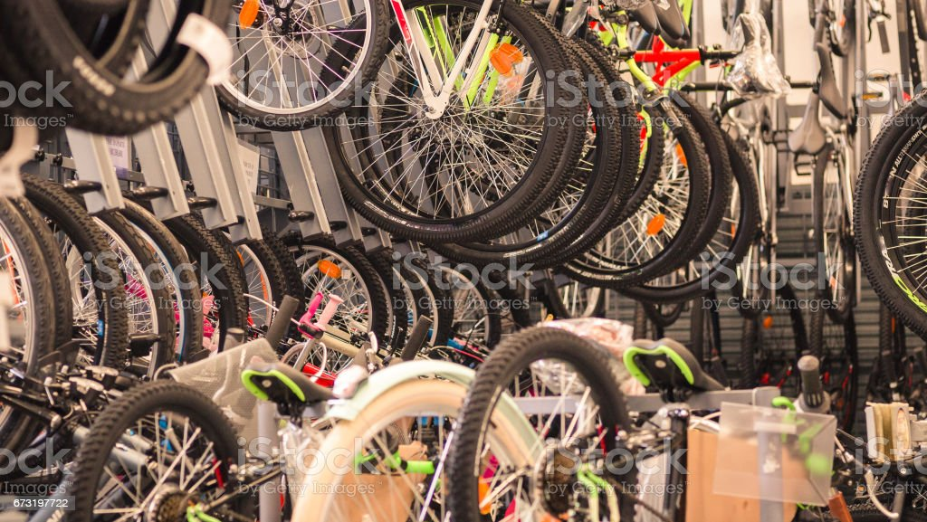 Workshop specializing in bicycle repair. stock photo