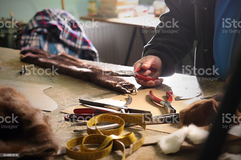 Workshop, studio furrier Workshop furrier, utensils, tools and pieces of natural fur Art And Craft Stock Photo