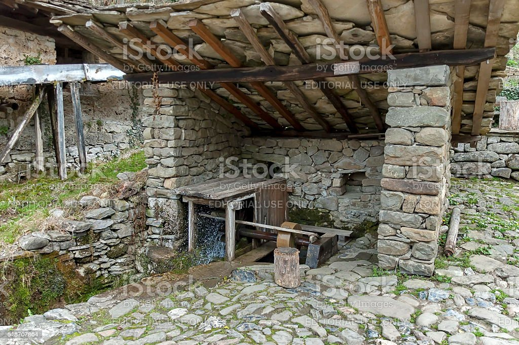Workshop with whetstone and mill-wheel, Etar, Gabrovo stock photo