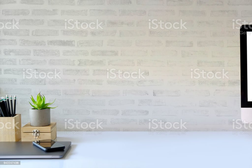 Workspace concept : creative work place desk. stock photo