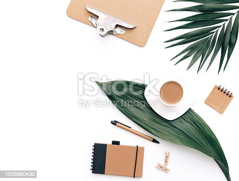 workspace flat lay photo composition for bloggers, magazines, social media and artists. Office supplies and coffee. Top view