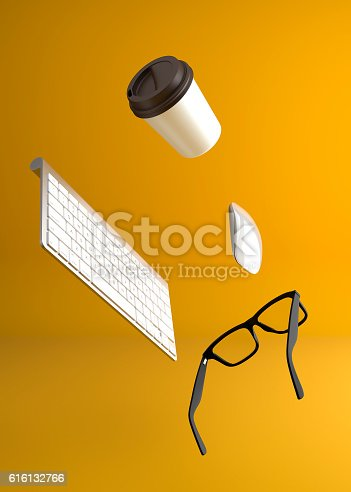 istock Workspace float on the air on yellow background 616132766