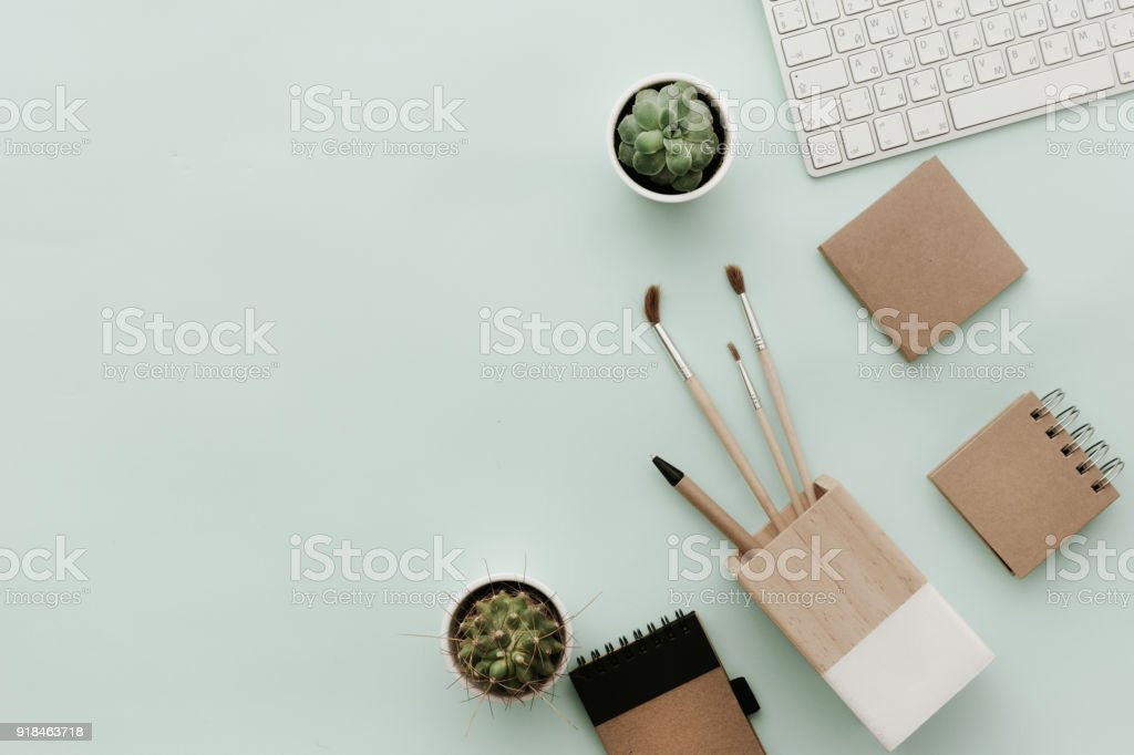 Workspace for Designers, Bloggers with eco craft elements and keyboard