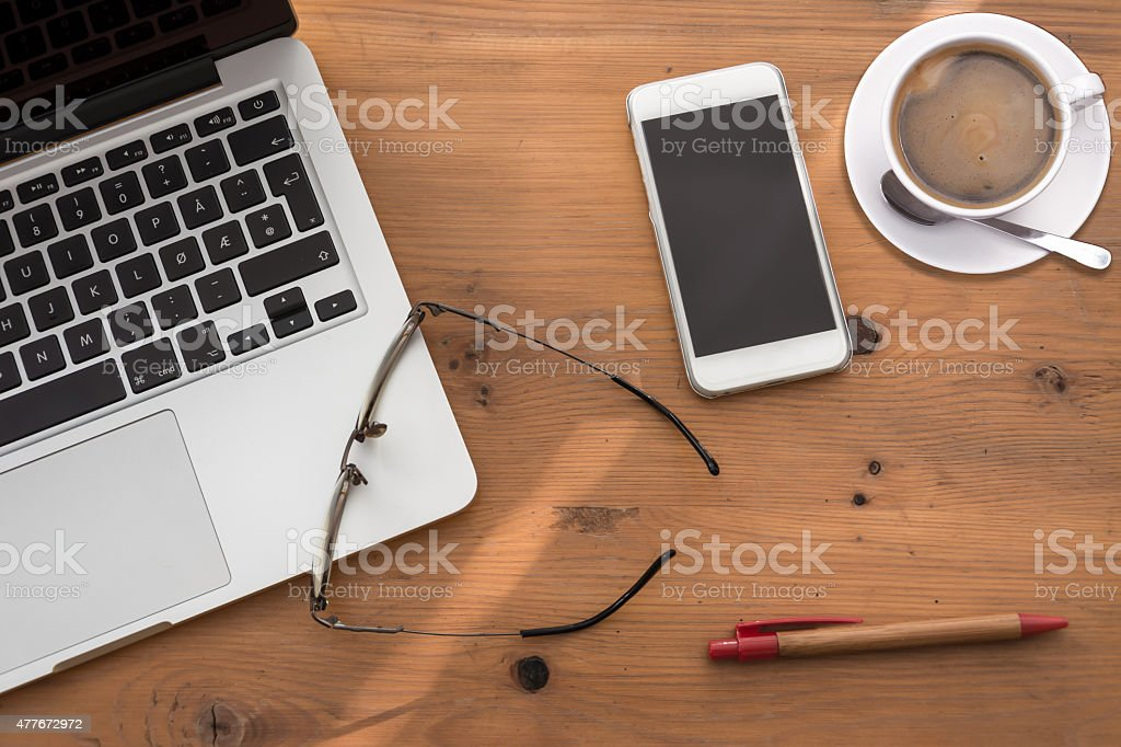 Workspace from above stock photo