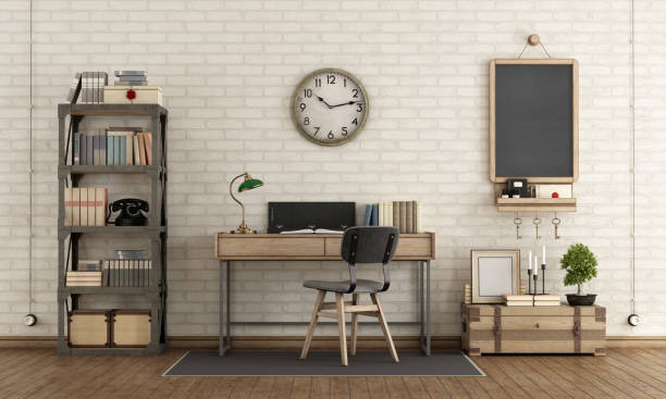 Workspace in industrial style stock photo